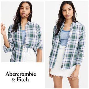 ⬇️ NWT Abercrombie & Fitch Blue Green Plaid Shirt